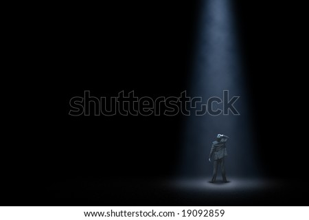 Lonely man in night - stock photo
