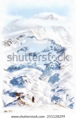 Lonely man mountaineer standing on top of mountain looking to high peak background Painting - stock photo