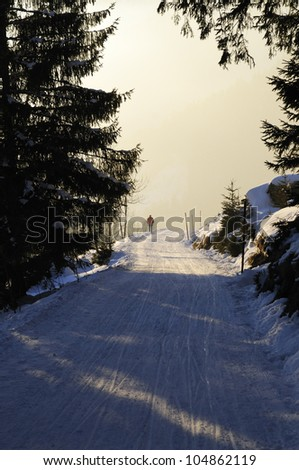 Lonely man walking over ski trail with fresh snow in winter, Bavarian Alps, Germany. - stock photo