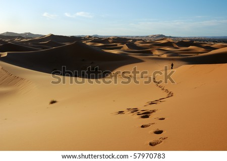 Lonely man wandering in the dunes - stock photo