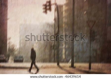 Lonely morning walk. Several of my photos worked together to make a retro dreamlike look. - stock photo