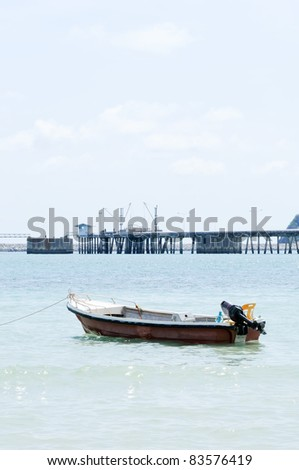 Lonely motor boat in the east cost of Thailand