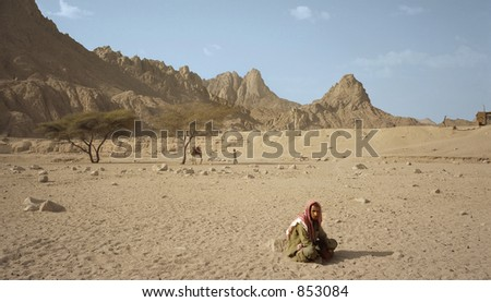 Lonely nomad in Egyptian desert - stock photo