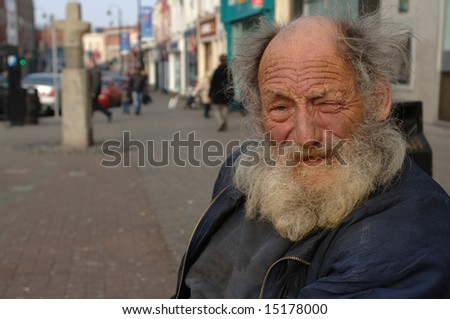 Lonely Old Homeless Man in Portrait - stock photo