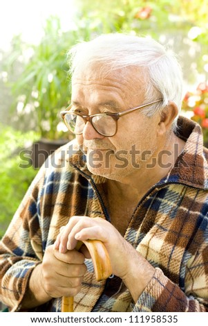 lonely old man - stock photo