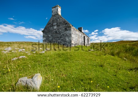 Lonely old stone house in scotland