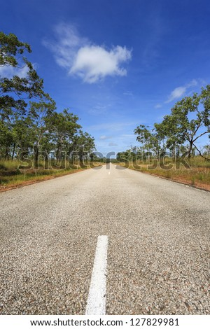 Lonely Outback Highway in Northern Territory, Australia - stock photo