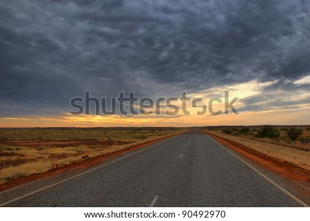 Lonely Outback Highway in Western Australia - stock photo