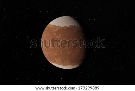 Lonely planet in deep space. Exoplanet - stock photo