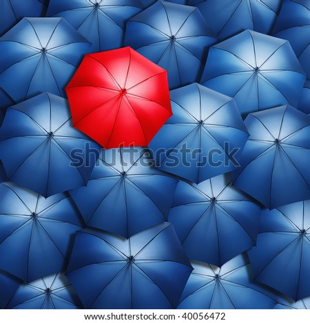 Lonely red umbrella over blue umbrellas. Light coming out of umbrellas. - stock photo