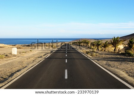 Lonely Road in the Desert in Tenerife Canary Islands