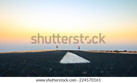 Lonely Road in the Desert , Tenerife Canary Islands - stock photo
