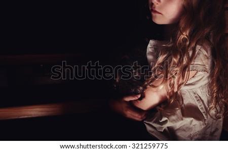 lonely sad child,  - stock photo