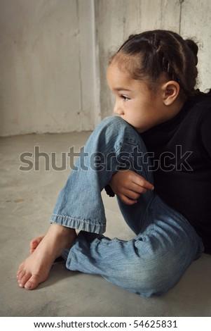 Lonely sad girl - stock photo