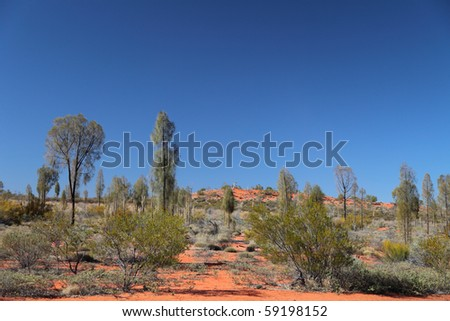 Lonely scenic in the desert of Central Australia. - stock photo