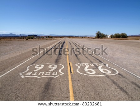 Lonely section of historic Route 66 in California's Mojave desert. - stock photo