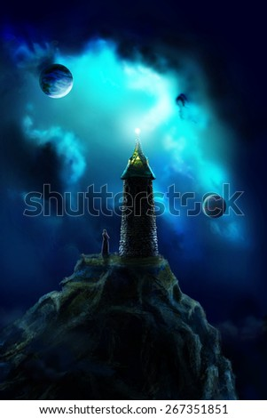 Lonely tower standing on a rock and a magician at its foot, watching the planets in the sky - stock photo