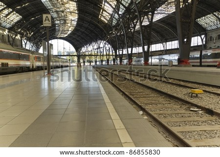 Lonely train station in Barcelona - stock photo