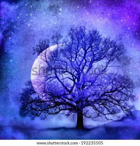 Lonely tree before the Moon, watercolor illustration - stock photo