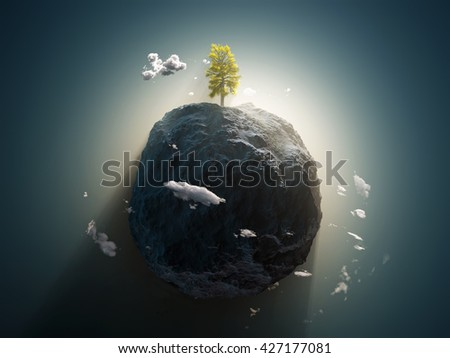 lonely tree on the stone planet, 3d illustration - stock photo