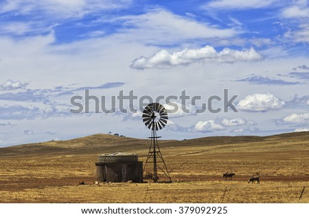 lonely windmill construction in the middle of yellow cropped field under blue sky in South Australia - stock photo