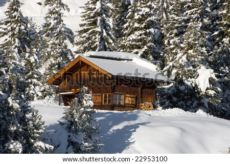 Lonely winter cottage in the forest. - stock photo
