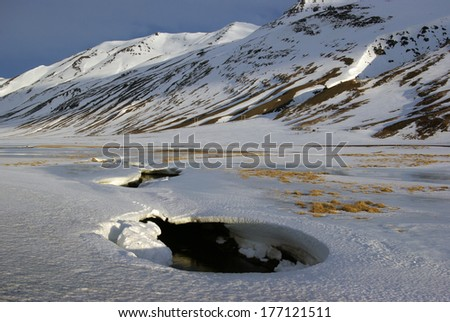 Lonely winter landscape in Iceland