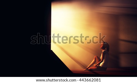 Lonely Woman in Melancholy Sitting in an Empty Room against Lightrays 3D Illustration - stock photo