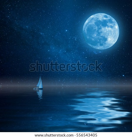 Lonely yacht in calm ocean, full moon and stars reflection in water. Landscape with milky way