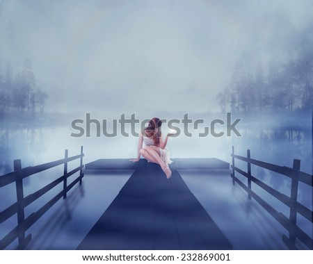 Lonely young woman sitting on a lake pier with bright ball of glowing light in her hand. Human emotion life perception feeling signs symbols, spirituality concept. Abstract idea screensaver background - stock photo