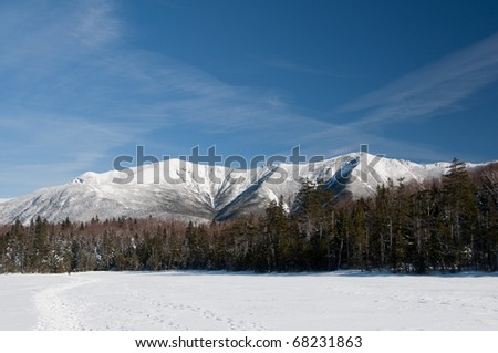 Lonesome Lake to Mt. Lafayette - Winter - stock photo