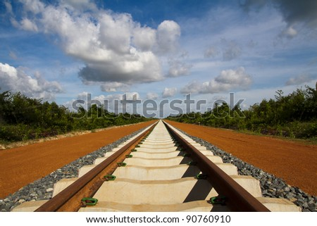 Lonesome railway in the back country of Cambodia - stock photo