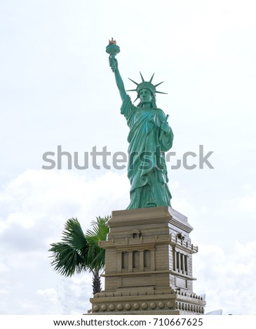Long An, Vietnam - September 3rd, 2017: Architectural models Statue of Liberty is the world's architectural wonders built in tourist areas to attract visitors in Long An, Vietnam