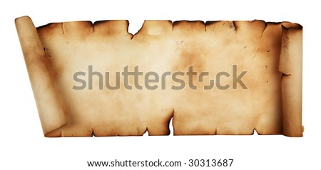 Long ancient scroll isolated over a white background - stock photo