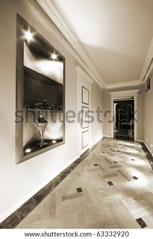 long and beautiful corridor in a modern flat - stock photo