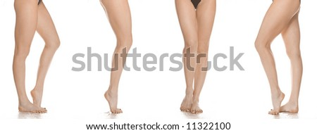 long and beautiful female dancer legs in different positions on white background