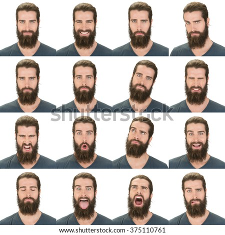 long and black hair beard young caucasian man collection set of face expression like happy, sad, angry, surprise, yawn isolated on white