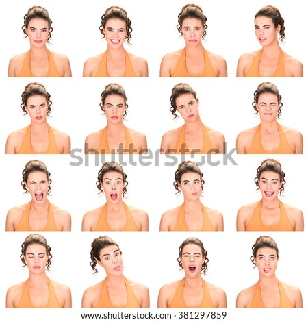 long and brown hair red lips young caucasian woman collection set of face expression like happy, sad, angry, surprise, yawn isolated on white - stock photo