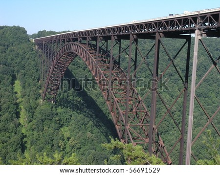 long arch bridge over New River in West Virginia, USA - stock photo
