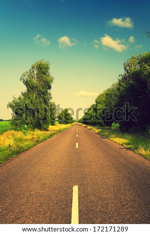 long asphalt road and green trees with retro colors - stock photo
