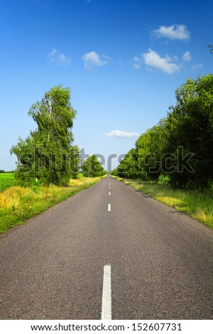 long asphalt road with green trees in countryside at summer time - stock photo