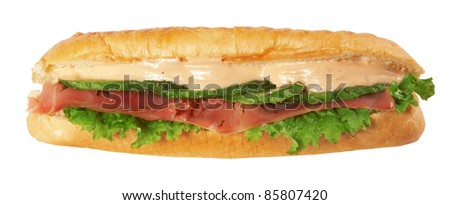 long baguette sandwich isolated on white background