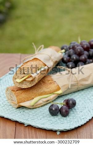 Long baguette sandwiches - stock photo