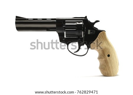 long-barreled revolver with a wooden handle isolated