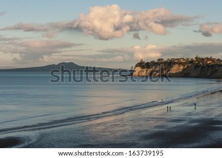 Long Bay and Rangitoto Island - stock photo