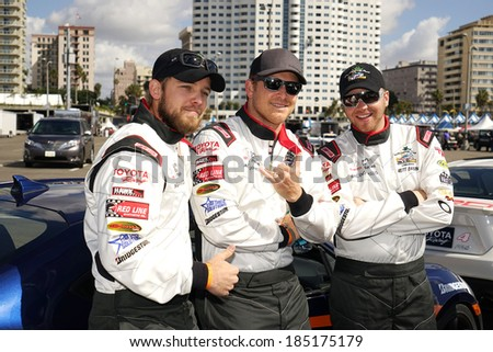 LONG BEACH - APR 1: Max Thieriot, Cole Hauser, Brett Davern at the 37th Annual Toyota Pro/Celebrity Race Practice Day on April 1, 2014 in Long Beach, California - stock photo