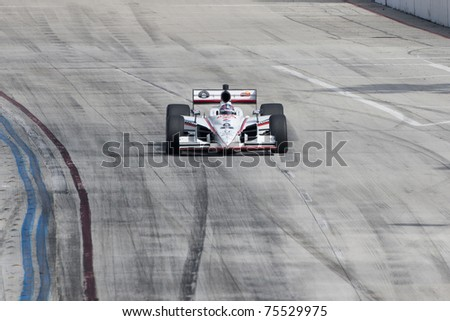 LONG BEACH, CA. - APR 17: Paul Tracy in the #8 car races during the Toyota Grand Prix of Long Beach on April 17, 2011 in Long Beach, CA.