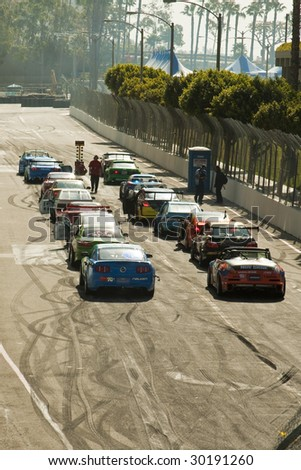 LONG BEACH, CA - APRIL 11: All cars waiting to launch off during 2009 Formula Drift April 11, 2009 in Long Beach.