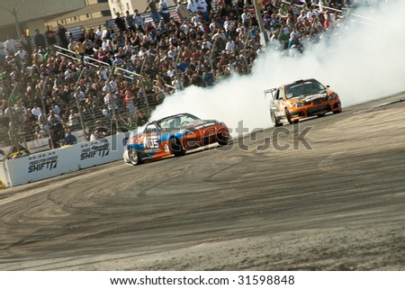 LONG BEACH, CA - APRIL 11 : Chris Forsberg in drifting action for grand prize during 2009 Formula Drift April 11, 2009 in Long Beach.