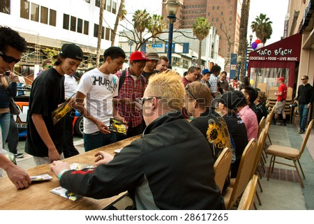 LONG BEACH, CA - APRIL 9: Drivers at autograph session during the parade for the first round of formula drift April 9, 2009 in Long Beach, California.